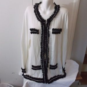 Michael Simon Lace Ruffle Cardigan Sweater 1X